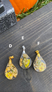 Botanical Pendant Necklaces Teardrop (D-F)