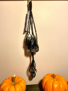 """Spooky Season"" Black Ink Drop Plant Hanger"