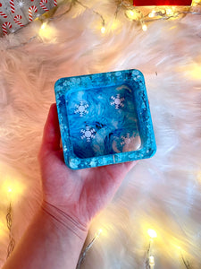 Blue Snowflake Square Ashtray