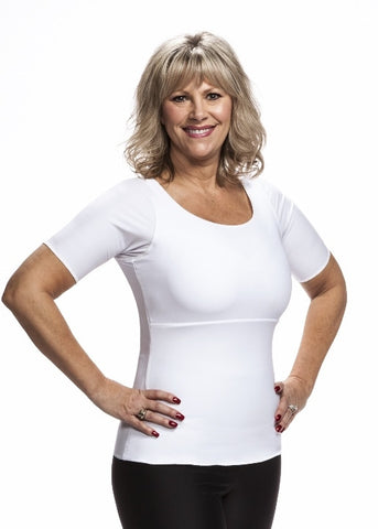 Compression T Shirt by Wear Ease®- Underarm, Upper Chest, and Back-New Color, White!