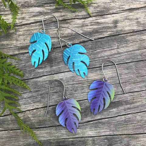 Blue and purple Leaf earrings set. Tribal Earth New Zealand