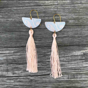 Rose gold coloured earring set, round studs and long tassel earrings. Tribal Earth New Zealand