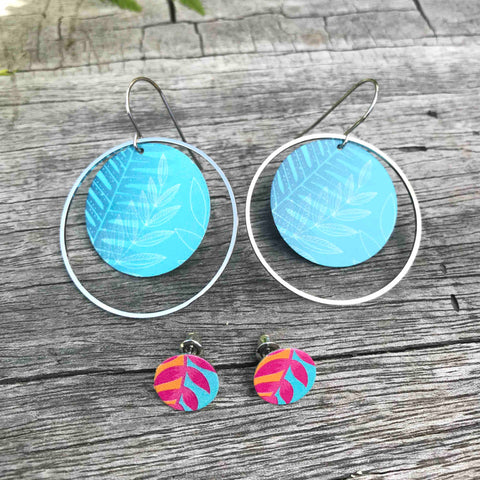 Round hoop and stud earring set. Tribal Earth New Zealand