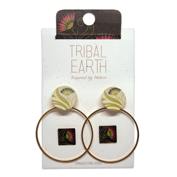 Earring set, square studs and hoop earrings, Pohutukawa flower print. Tribal Earth New Zealand