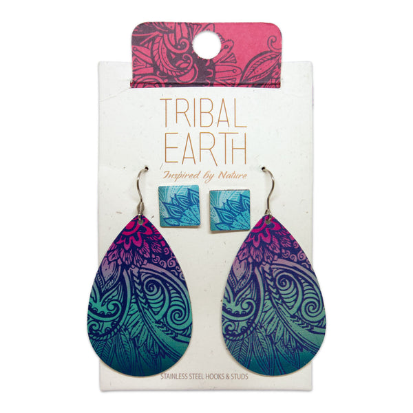 Square stud and teardrop pendant earring set. Feather Mandala design. Tribal Earth New Zealand
