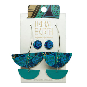 Blue koru earring set. Designed in New Zealand. www.tribalearth.co.nz