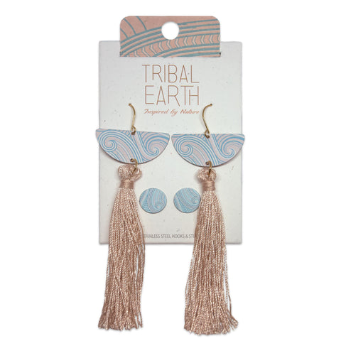 Pastel Glam rose gold coloured earring set, round studs and long tassel earrings. Designed in New Zealand. www.tribalearth.co.nz