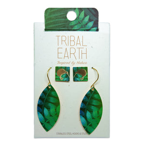 Native bush and kiwi earring set, green square studs and teardrop earrings. Designed in New Zealand. www.tribalearth.co.nz