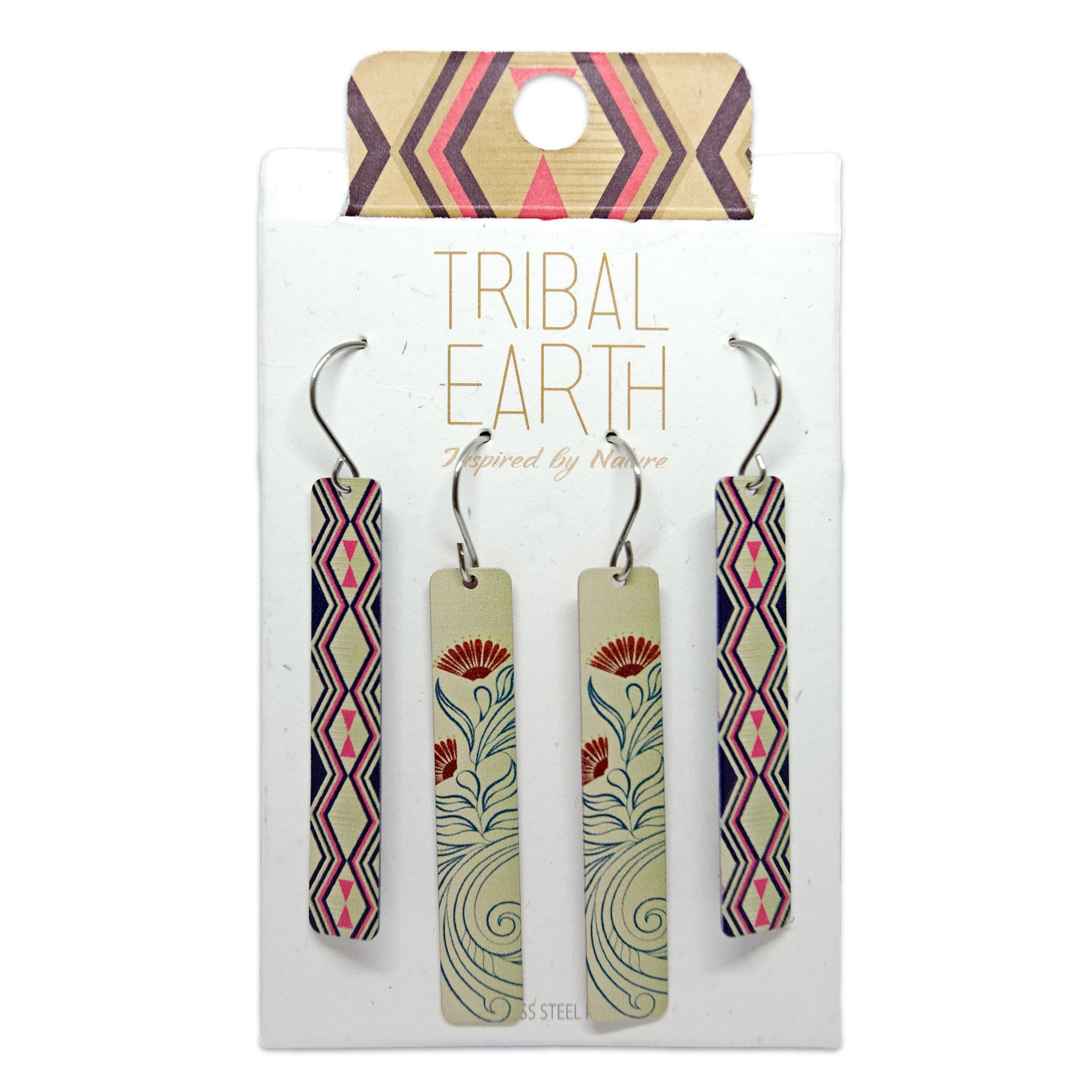 Rectangle gold coloured drop style earring set. Designed in New Zealand. www.tribalearth.co.nz