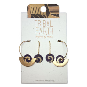 Fan hoop and chain drop earring set. Gold colour. Designed in New Zealand. www.tribalearth.co.nz