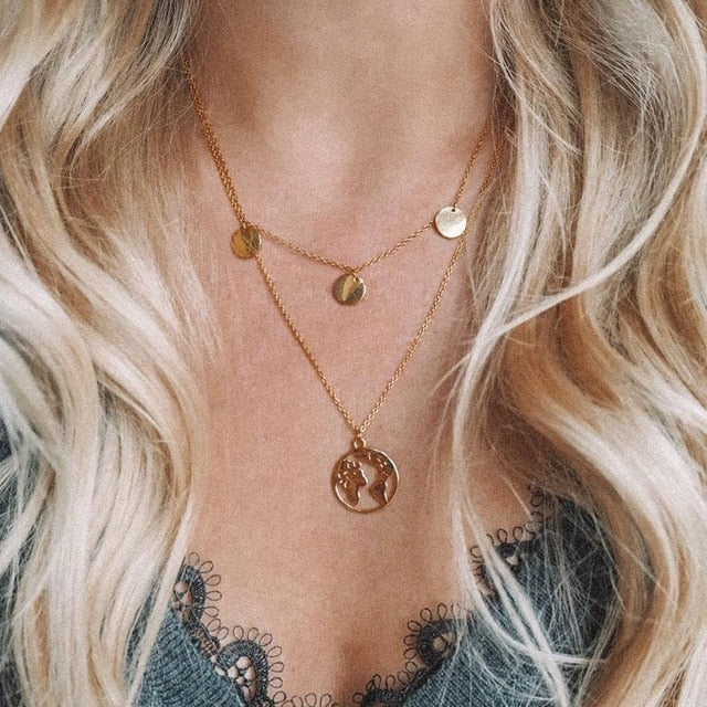 Two Layers Necklace with Earth - Oneposh
