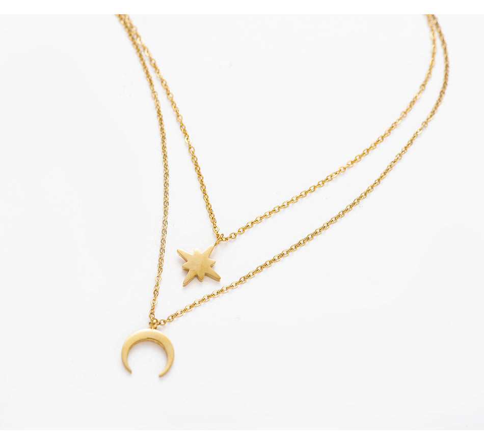 Maylea Moon Star Layered Necklace - Oneposh