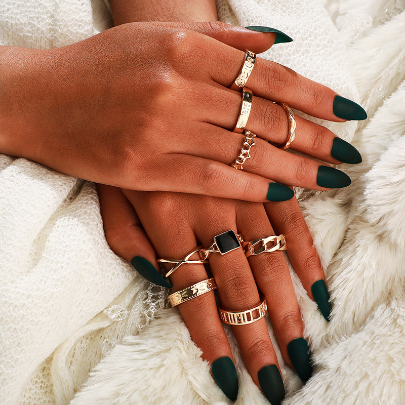 Black Stone Rings Set - Oneposh