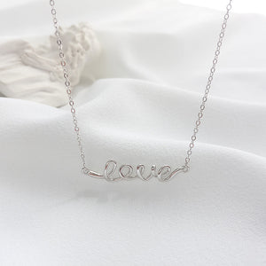 Love 925 Sterling Silver Pendant Necklace - Oneposh