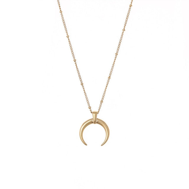 Stainless Steel Moon Pendant Necklace - Oneposh