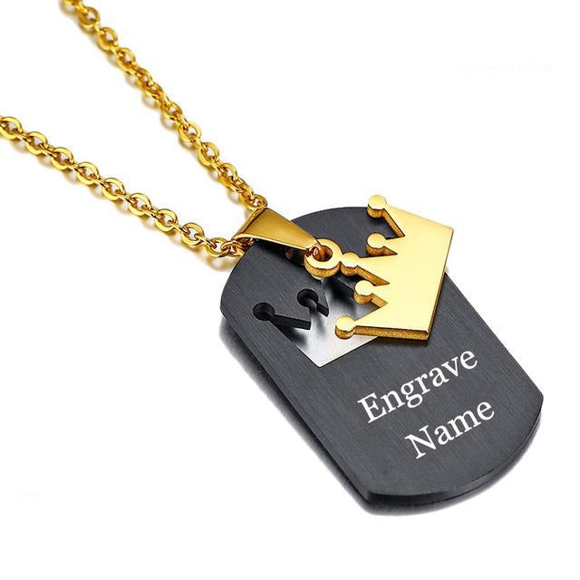 Crown Stainless Steel Personalized Couple Necklaces - Oneposh