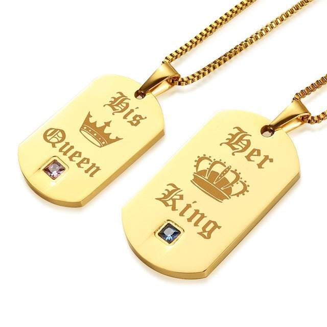 Golden King and Queen Stainless Steel Couple Necklaces - Oneposh