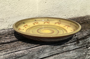 Large Pale Green and Cream Platter with Hares