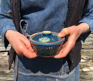 Dark Blue Fat Fish Lidded Sugar Pot