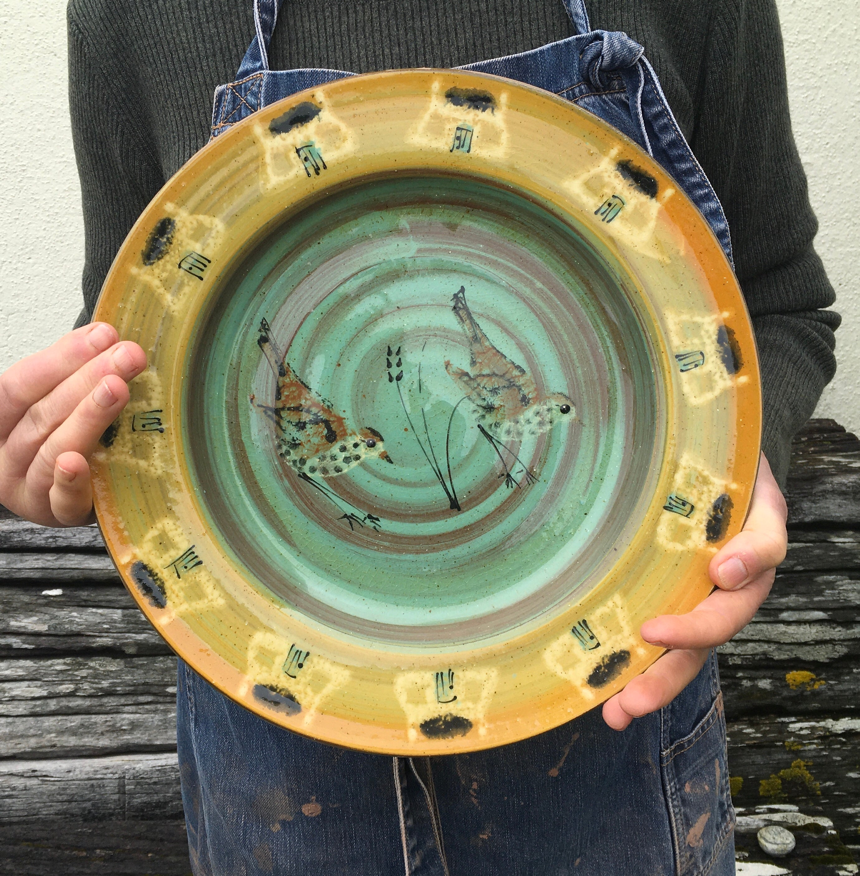 Song Thrush Platter with Tiree Black House