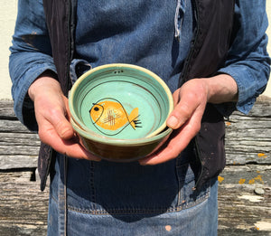 Turquoise Bowl with Fat Fish