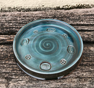 Blue Glaze Dish with Dung Beetle Stamp