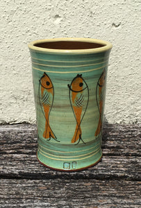 Turquoise Vase with Fish