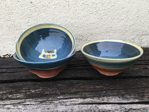 Dark Blue Bowl with Tiree Black House