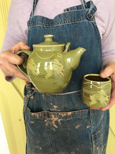 Pale Green Hare Teapot and Beakers
