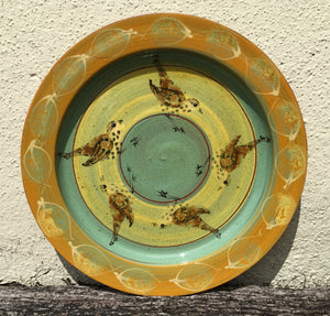 Song Thrush Platter with Yellow Leaves