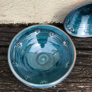 Blue Glaze Bowl with Blackberry Stamp