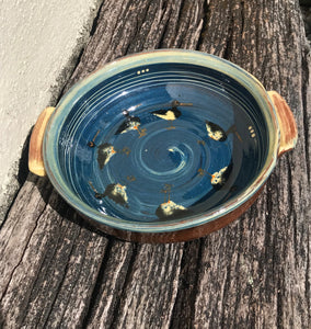 Dark Blue Oystercatcher Dish with Handles