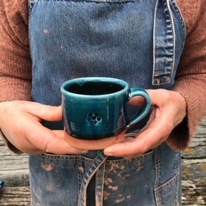 Blue Glaze Mug with Blackberry Stamp