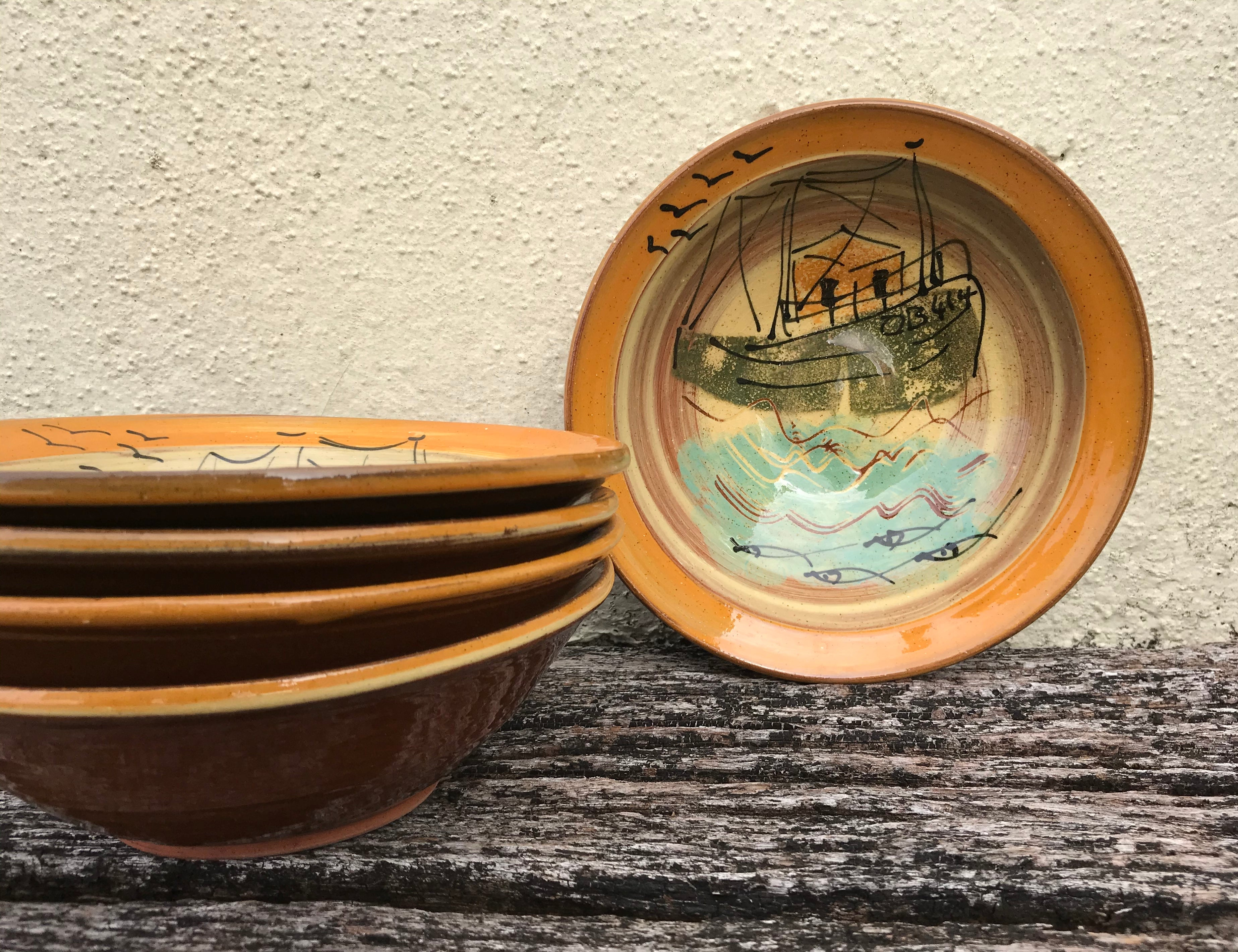Cream and Orange Fishing Boat Bowl