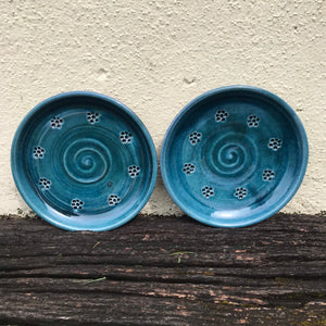 Blue Glaze Side Plate with Blackberry Stamp