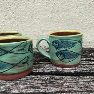 Turquoise Mug with Skinny Fish