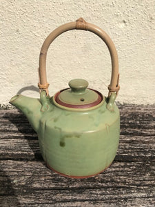 Green Teapot with Bamboo Handle