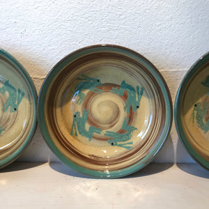 Cream and Turquoise Bowl with Hares