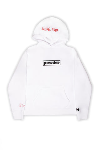 Sun Valley White with Black and Red Hoodie - PowderLA