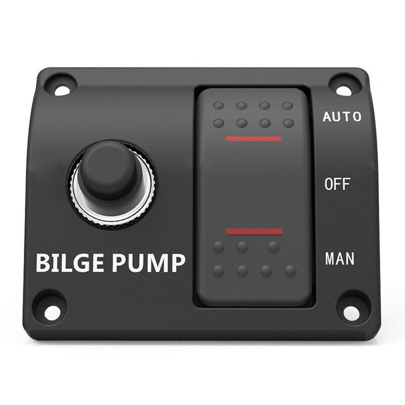 3-Way Bilge Pump Switch Panel Auto-Off-Manual 12/24V DC Two Gear Control