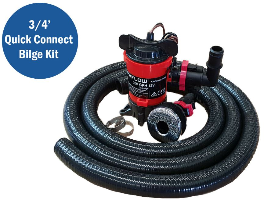 Johnson 500 Bilge Pump Kit / W Quik Connect + SS Skin Fitting & Clamp