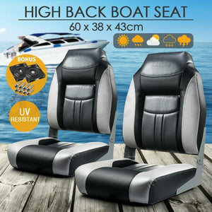 OGL Set of 2 Marine Folding Boat Seats Fishing All weather Swivel Chairs Black OZ Auction