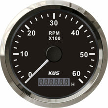 Load image into Gallery viewer, 6000RPM BLACK Boat Tachometer Digital Hour meter KUS Boat 4x4 Marine Grade