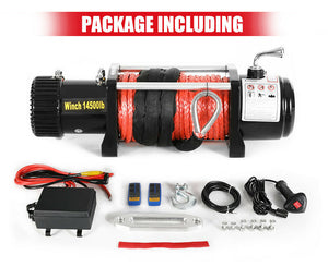 14500LBS 12V Electric Winch Synthetic Rope w/ Remote Truck Offroad 4WD, Vicoffroads