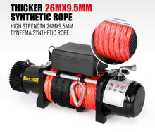 Load image into Gallery viewer, 14500LBS 12V Electric Winch Synthetic Rope w/ Remote Truck Offroad 4WD, Vicoffroads