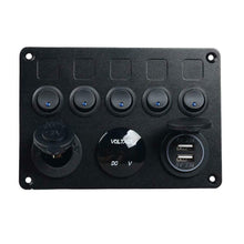 Load image into Gallery viewer, 5 Gang ON-OFF Toggle Switch Control Panel 2 USB Charger 12V Boat Fused