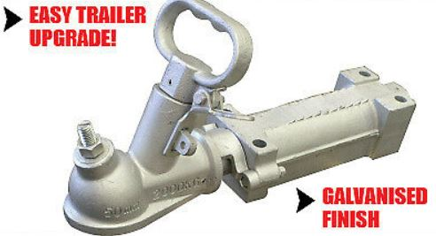 2000Kg Galvanised Dacromet Override Trailer Caravan Coupling suit 50mm Tow Ball