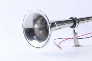 Marine Boat Stainless Steel Single Trumpet Horn , Low Tone 12v