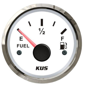 KUS Fuel Tank Gauge Boat Marine Fuel Level 240-33 OHMS Stainless Bezel