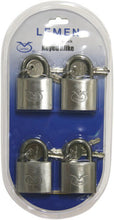 Load image into Gallery viewer, 4 x Padlocks Stainless Steel 30mm, Keyed Alike, New wide Pack of 4 padlocks